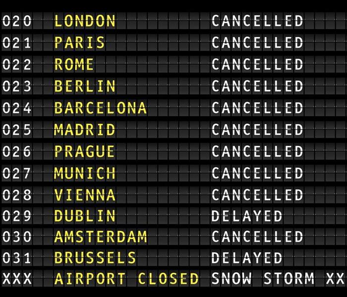 Flight information on airport during a snow storm, vector